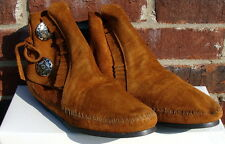 Minnetonka Women's Two Button Boot - Hardsole Brown Suede - 9.5