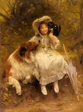 Oil painting arthur john elsley - he won't hurt you young girl with dog cat art