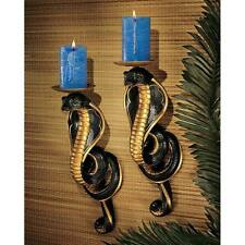 S/2 RENENUTET COBRA GODDESS WALL SCONCES DESIGN TOSCANO cobra candle holders