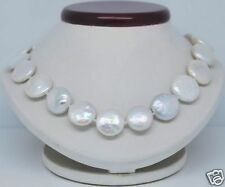 """Rare Huge 13x14mm Natural White Freshwater Pearl Coin  Beads Necklace 18""""AAA++"""