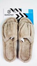 NWT ISOTONER Women's Brown Microterry Classic Open Toe Slippers 7.5-8 Medium