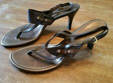 "Cole Haan Lexa Thong Sandals Slingback 3"" Heels Brown Copper Leather Womens 11B"