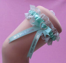 Aqua Mint Personalised Wedding Garter - Comes with a lucky sixpence
