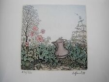 "Bernd Hauck 1988 Signed Print Of A Pot In A Garden 237/350 2.75"" x 2.75"""