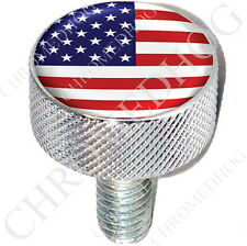 LG Show Chrome - Billet Aluminum Knurled Seat Bolt for Harley - American Flag 2