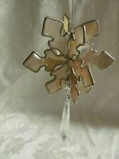 3D Snowflake ornament made of shell + hanging crystal prism silver accents