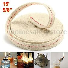 15' Roll 5/8'' Replacement White Flat Cotton Wick For Oil Lamps and Lanterns