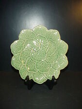 Bordallo Pinheiro Portugal Green Leaf Plate Embossed