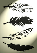 Shabby Chic stencil Feather sheet cut to 4 singles Vintage A4 297x210mm wall