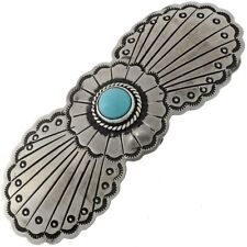 Santa Fe Silver Finish Turquoise  Navajo Barrette Hair Accessory