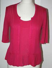 Per Una UK12 EU40 US8 new bright pink 2-in-1 short sleeve top/cardigan