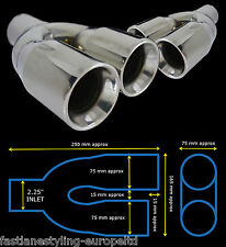 STAINLESS STEEL DUAL QUAD UNIVERSAL EXHAUST TAILPIPES LEFT + RIGHT YFX-0225-SP3