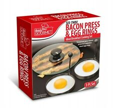 Bacon Press & Egg Rings Cooking Grill Pancake Breakfast Glass Handy Gourmet 3pc