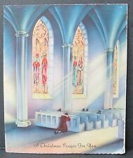 Vintage Forget Me Not Christmas Greeting Card Praying In Church