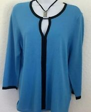 E P Pro Blue 3/4 Sleeve Pullover Cotton Wool Keyhole Trim Golf Sweater Size L