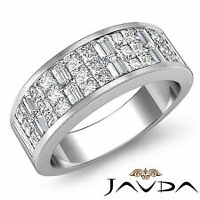 Princess Baguette Invisible Set Diamond Women Wedding Band 18k White Gold 1.5Ct