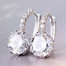 18k White Gold Filled White Swarovski Crystal Charming Ear Clip Hoop Earring FMA