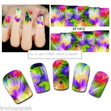 Nail Art Water Decals Wraps Spring Summer Bright Flowers Floral Gel Polish 1412