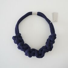 HOF115: COS Halskette textil dunkelblau / Knotted jersey necklace cotton navy