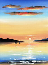 Sarah Featherstone, Originale Acquerello Pittura, Tramonto sull'acqua, barche