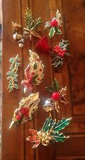 Rare! Vintage Lot Christmas Holly Pins Lotto Spille Agrifoglio Di  Natale
