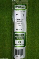 "EVERGREEN STRIP STYRENE SQUARE TUBE 0.375"" #256"
