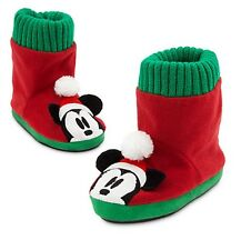 Disney Store Authentic Mickey Mouse Holiday Soft Slippers Shoes Boys Size 9/10