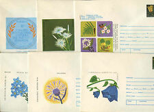 Romania 1974, 6 Flowers Unused Stationery Pre-Paid Envelopes Covers #C21429