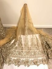 "GOLD METALLIC BORDER EMBROIDERY  MESH LACE FABRIC 50"" WIDE 1 YARD"