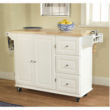 New Rolling Kitchen Island Wood Storage Cabinet Cart Extended Top Workstation