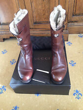 Gucci Mens Shearling Fur Lined Brown Leather Boots UK 7 US 8 EU 41 Made in Italy