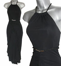 KAREN MILLEN Black Jersey Halterneck Rope Belt Frill Front Fishtail Dress UK 10