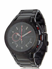 NWT MENS ARMANI EXCHANGE A|X (AX1404) BLACK RED ACCENT STAINLESS STEEL WATCH