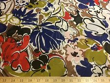 "White/Royal/Red Big Floral Print 100% Polyester Chiffon Fabric  58"" W BTY"