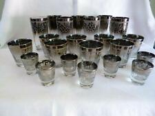 Dorothy Thorpe Silver Fade Embossed 22 pc Highball Tumblers,Low Ball,  Shots