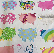 SALE!!!Heavy Cotton Dressed Up Pigs Print Curtain Fabric Material (White)