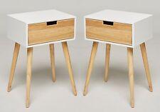 2x Nachtschrank Weiß Holz Nachttisch Retro Möbel Beistelltisch Retro Design NEU