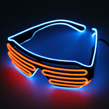 Wire LED Light Up Shutter Shaped Glasses Eyewear Voice Control For Party#F