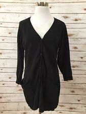 James Perse 3 Black Long Cardigan Sweater *3257