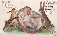 * HAPPY EASTER - Rabbits & Child 1906 Budapest Hungary (In Relief)