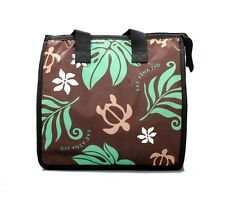 Hawaiian Print Thermal Insulated Zipper Lunch Bag Turtle and Leaf in Green Large