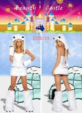 Furry Halloween White Polar Bear Women Cosplay Costume Plush Animal Party COS135