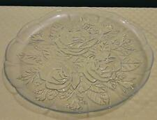 "Vintage PASARI INDONESIA 9"" Clear Glass Rose Pattern Serving Tray Plate"