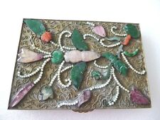Antique Chinese export gilt cigarette box w green Jade Coral Tourmaline Pearl
