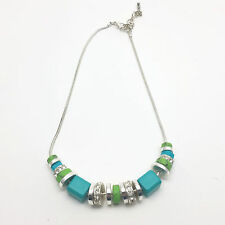 Nine West Chunky Blue & Green Silver Tone Necklace