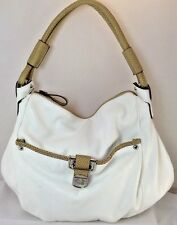KATHY VANZEELAND Large White w/Sand Trim Slouchy Satchel Shoulderbag Handbag