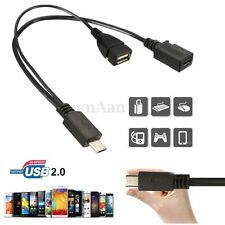 OTG Host Power Splitter Micro USB Male to USB A Female & Micro USB Female Cables