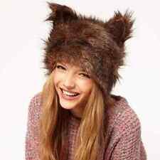 Faux Fur Hat Ladies Cute Animal Ear Coffee Color Halloween Russian Style Cap