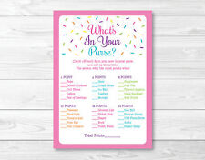 Pink Baby Sprinkle Whats in Your Purse Baby Shower Game Printable