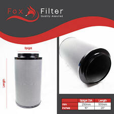 "HYDROPONIC 250mm x500 FOX CARBON FILTER 10"" INCH 4 Indoor Grow Extractor Fan UK"